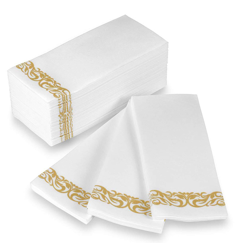25pcs Disposable Napkins Hand Towels Rose Gold Silver Decorative Bathroom Foil Paper for Dinner Party Wedding Birthday Supplies