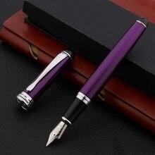 Nova marca x750 caneta fonte de metal roxo prata elegante assinatura de dobra caligrafia artigos de papelaria material escolar escritório