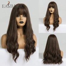 EASIHAIR długie brązowe peruki z grzywką peruki syntetyczne dla czarnych kobiet Glueless faliste peruki Cosplay wysokiej temperatury peruka z naturalnych włosów