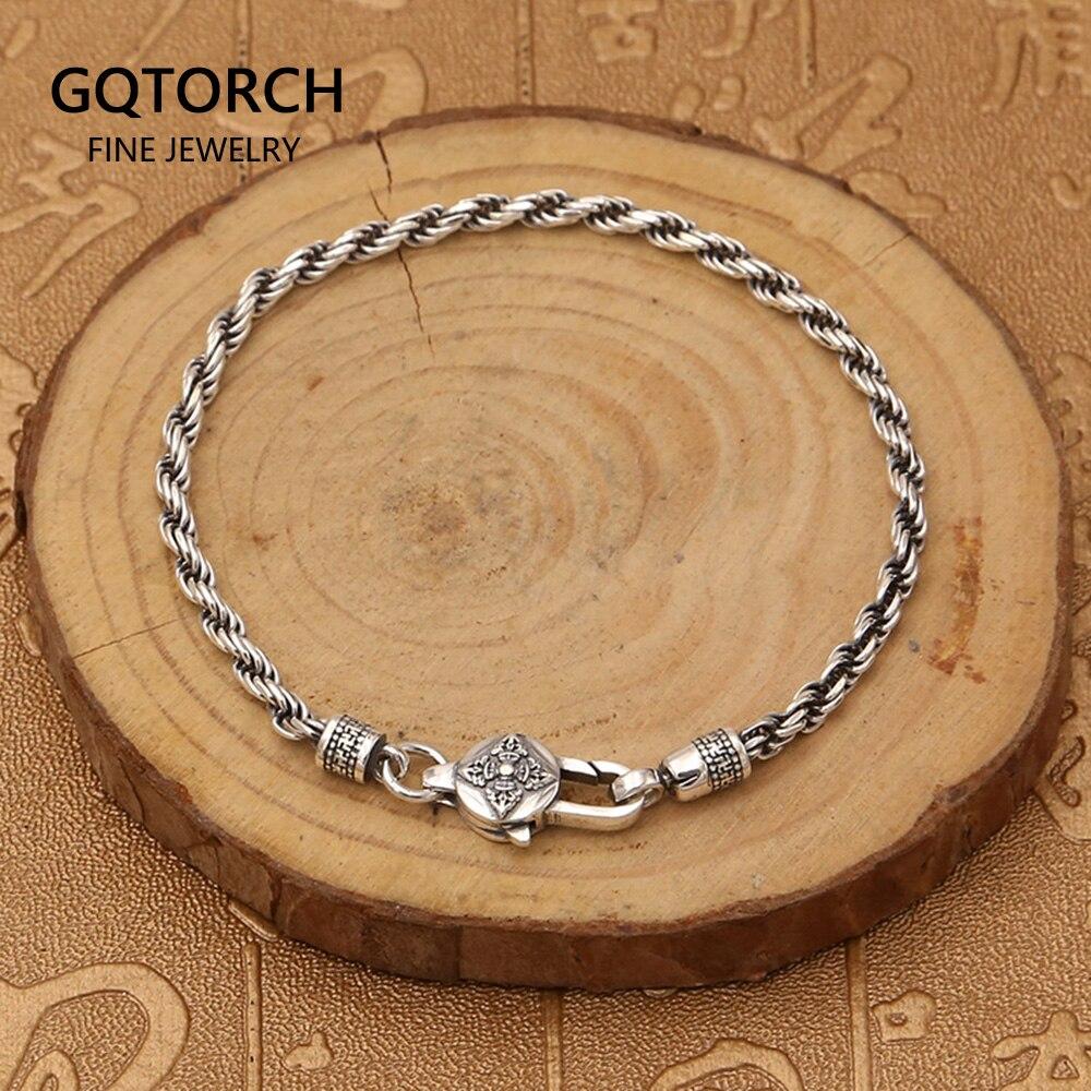 Real 925 Sterling Silver Braided Rope Chain Bracelets Tibetan  Buddhism Mantra Six Words And Vajra Engraved Prayer JewelryStrand  Bracelets