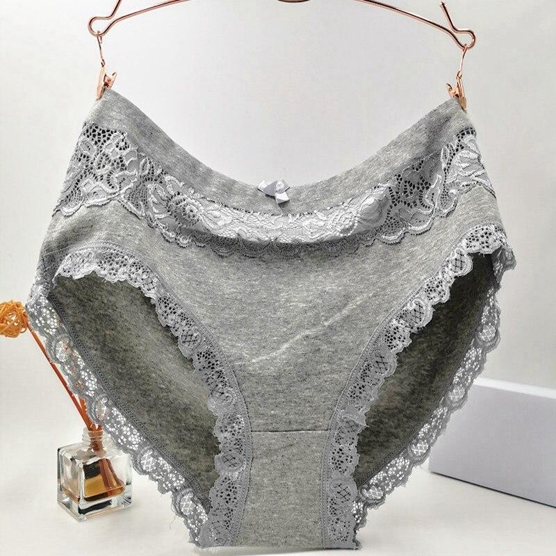3Pcs/lot Briefs Women Cotton Underwears plus size 6XL Big size Sexy High quality Lace Lingeries Hollow flowers Women's   Panties