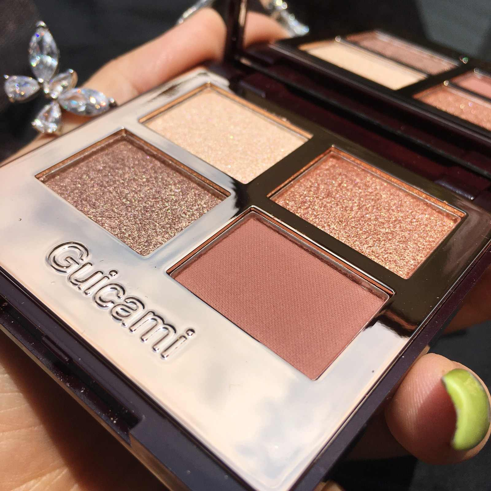 GUICAMI 4 สีใหม่น่ารัก Glitter Eyeshadow Palette Shimmer กันน้ำ SHADOWS Palette Eye Make Up Eye Shadow