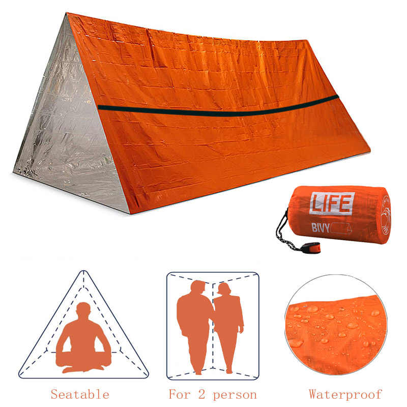 2 personnes abri d'urgence en plein air imperméable à l'eau thermique couverture sauvetage Camping SOS sac de couchage survie Tube tente avec sifflet