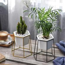 Nordic style geometric wrought iron simple succulent flower pot wrought iron frame ceramic green plant desktop flower pot