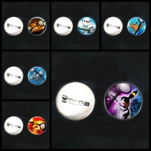 2019/ New Stainless Steel Cartoon Pokemon Panda Squirrel Explosion Brooch Glass Convex Round Pin Brooch Badge Children Gifts