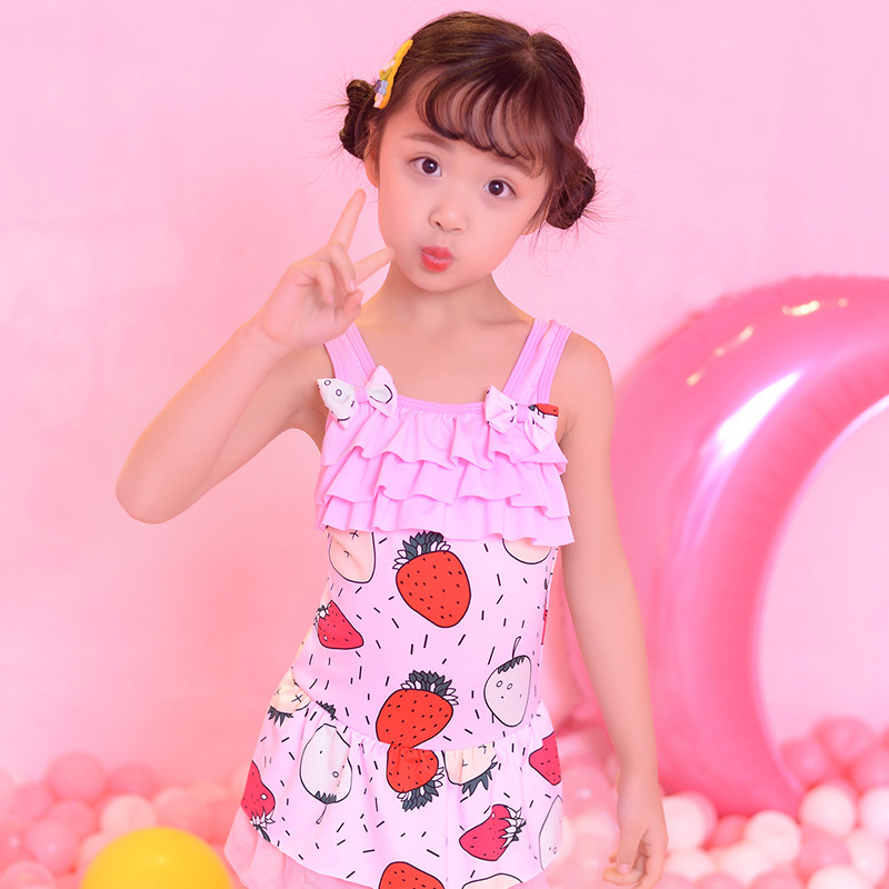Korean-style New Style One-piece Swimming Suit Girls Age Of 3-5 Bathing Suit Cute Strawberry Gauze KID'S Swimwear Cat Swimming S