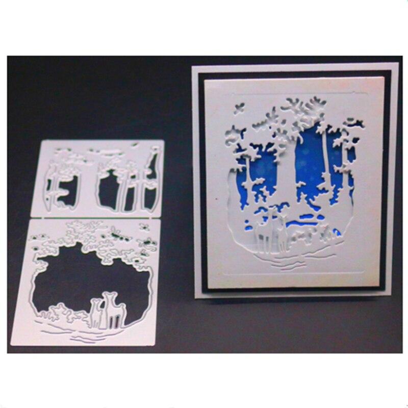 Snowflake Deer Forest Metal Cutting Dies Stencil Scrapbook Album Emboss Craft