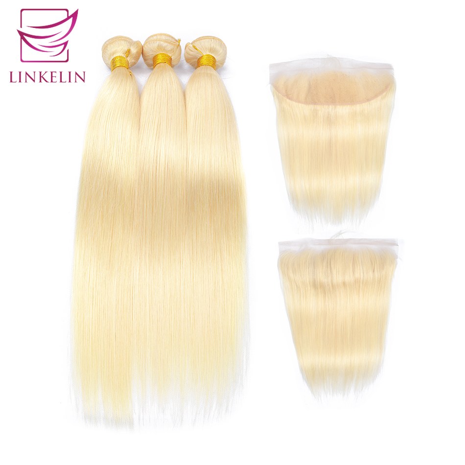 Straight 613 Bundles With Frontal Virgin Hair With Frontal Blonde Bundles With Closure LINKELIN HAIR Brazilian Hair Weave Bundle image