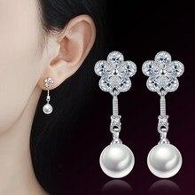 Tassel Earrings Jewelry 925-Sterling-Silver Vintage Zirconia Long Fashion New Flower