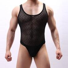 Lingerie Bodysuit-Wrestling-Singlet Jumpsuits Underwear Mesh Gay Men Male Jockstrap Fitness-Suit