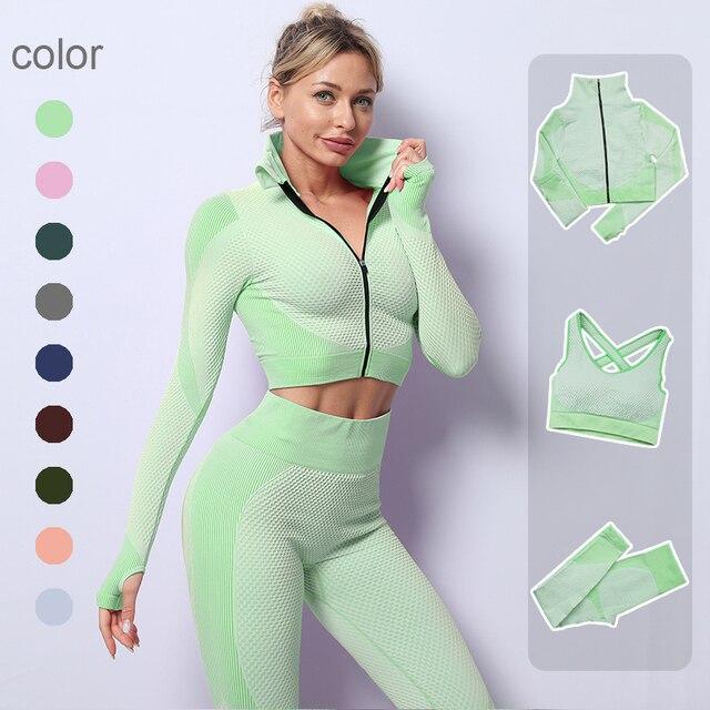 2/3PCS Seamless Women Zipper Yoga Set Workout Sportswear Gym Clothing Fitness Long Sleeve Crop Top High Waist Sports Suits