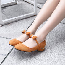 YMECHIC 2019 Apricot Blue Suede Butterfly-knot Design Ladies Party Lolita Shoes Chunky Heel Slip on Women Pumps Mary Jane Shoes(China)