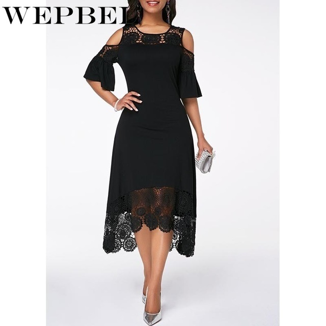 Women Plus Size Summer Lace Floral Dress Ladies Short Ruffles Sleeve Off Cold Shoulder O Neck Party Dress Long Maxi Dress 5XL 4