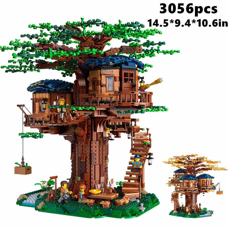 3056 Uds Ideas serie árbol casa modelo hojas dos colores bloques de construcción conjunto Navidad regalos para niños Compatible 6007