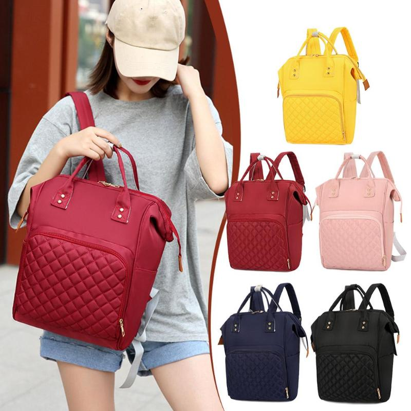 Large Capacity Nylon Maternity Nappy Top-handle Bags Baby Care Nursing Diaper Bags Fashion Solid Color Mommy Travel Backpacks