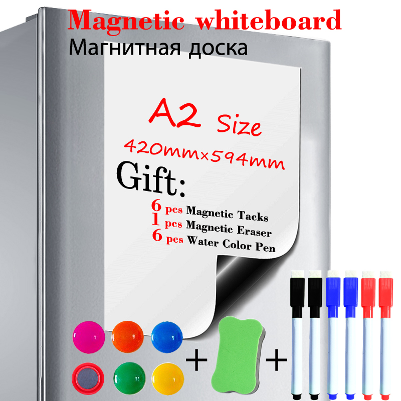 A2 Size Dry Erase White Board Fridge Sticker Soft Magnetic Whiteboard  Painting Message Board Gift 6 Pen 1 Eraser 6 Tacks