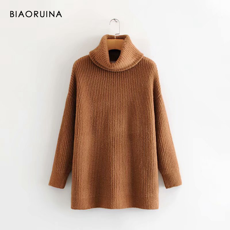 REJINAPYO 15 Color Women Fashion Solid Casual Knitted Sweater Female Turtleneck Oversized Pullover Ladies Elegant Loose Sweater 11