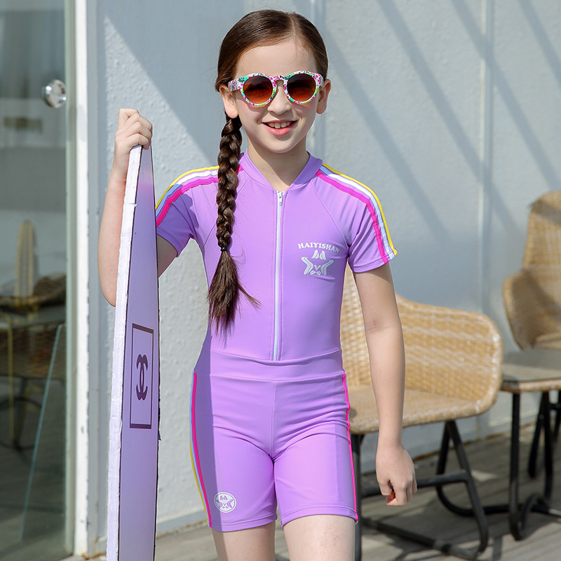 Plus Size Short Sleeve One Piece Swimsuit Child Swimwear Kids Bathing Suit Girls Boys Swimming Suit For Kids Girl Body Suits Children