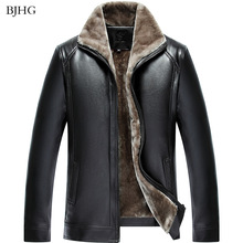 BJHG New Fashion Men's PU Leather Jacket Mens Brand Clothing Thermal Outerwear W