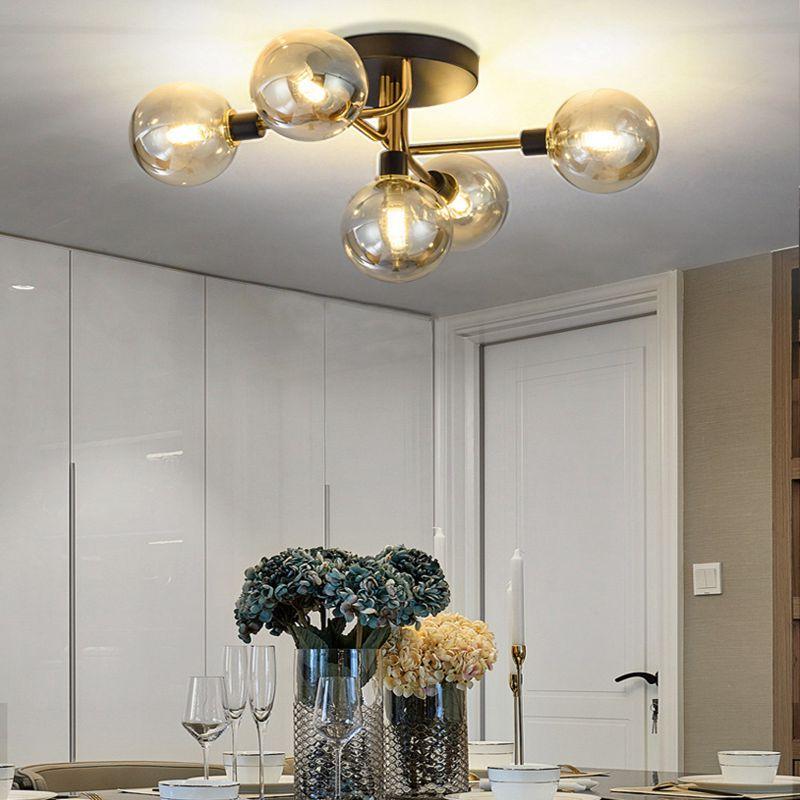 Nordic light luxury master bedroom ceiling light modern simple creative living room lamps warm romantic magic bean room light