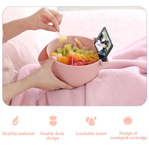 Snack Bowl Candy-Box Plastic Fruit-Plate Lazy Double-Layer Chase Melon-Tray Mobile-Phone-Bracket