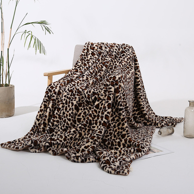 Elegant Leopard Design Fuzzy Blanket Sheets Super Soft Rabbit Fur Crystal Short Plush Bedding Sofa Cover 130*160cm/160*200cm