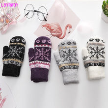 2019 autumn and winter new bag set imitation cashmere printing outdoor cold warm ladies gloves