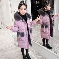 Зимняя куртка для девочек теплое пальто, одежда толстые парки Детские Зимние куртки верхняя одежда с большим меховым капюшоном для детей от...