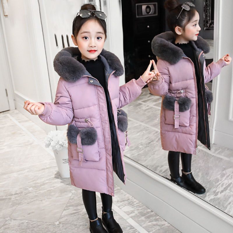 Girls Winter Jacket Warm Coat Clothing Thick Parkas Children's Winter Jackets Kids Big Fur Hood Outerwear For 4-16years