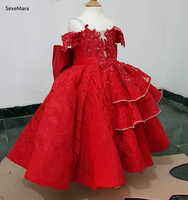 SexeMara Real Pictures Baby Girl Cloth Flower Dresses for Girls 1st year birthday party wedding infant toddler kids 0 14yrs kid