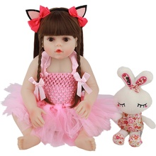 48CM Real Size Original Doll New Reborn Baby Toddler Girl Pink Princess Bath Toy Very Soft Full Body Silicone Girl Doll Surprice real baby size 60cm reborn toddler girl princess handmade doll surprice silicone vinyl adora bonecas girl kid reborn lol