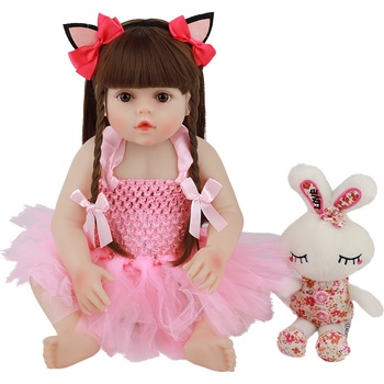 48CM Real Size Original Doll New Reborn Baby Toddler Girl Pink Princess Bath Toy Very Soft Full Body Silicone Girl Doll Surprice