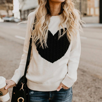 Casual Autumn Winter Pullover Long Sleeve O Neck Heart Knitted Women Sweaters Slim Pull Femme Jumpers 3XL Size Loose Sweater 10