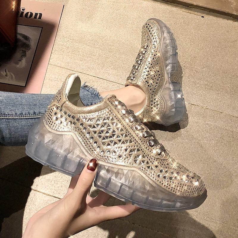 Shoes Woman Rhinestone Shoe 2019 Crystal Increase Shoe Exceed