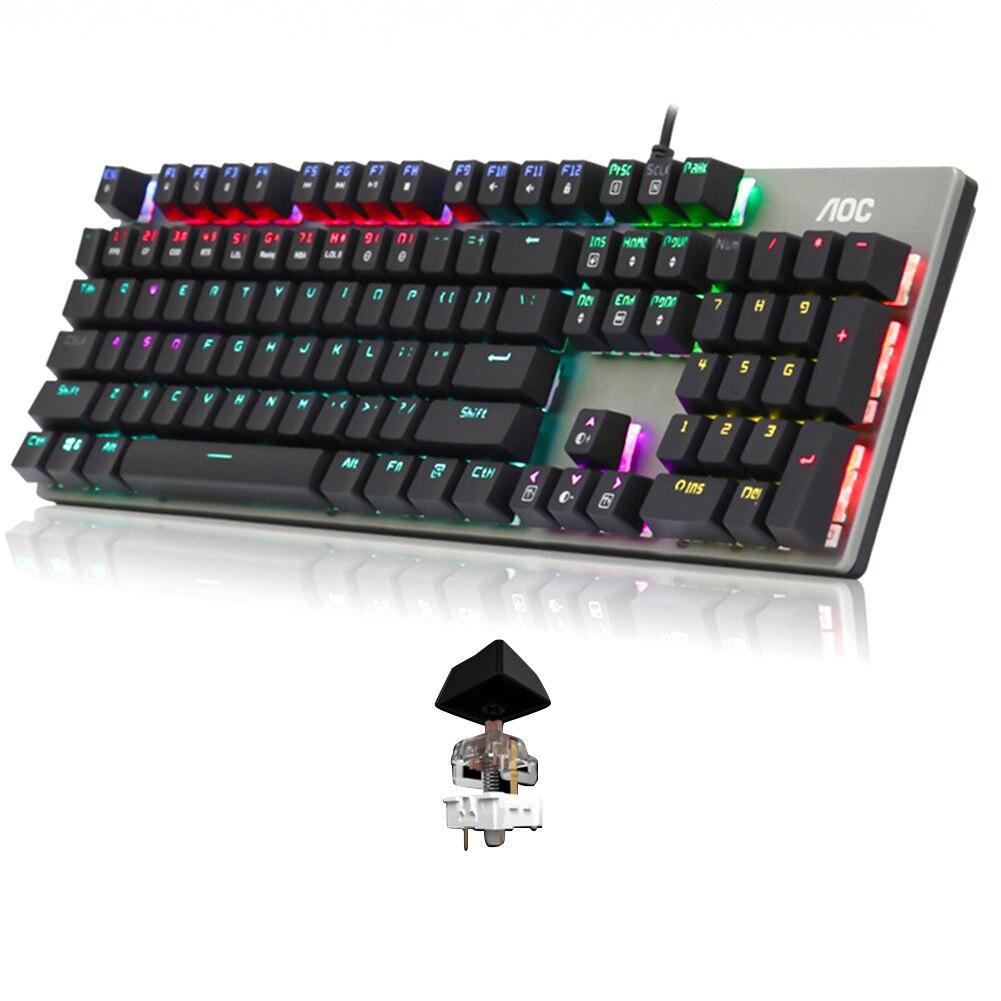 104 tasti per giochi Desktop meccanico Home Office resistenza all'usura accessori per Computer tastiera cablata retroilluminazione ergonomica RGB