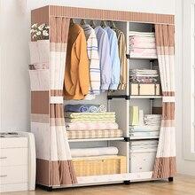 Closet Cabinet Bedroom Furniture Garment Rack Organizador Dress Cabinets Metal Storage Fabric Assembly Flat Sliding Door Wardobe