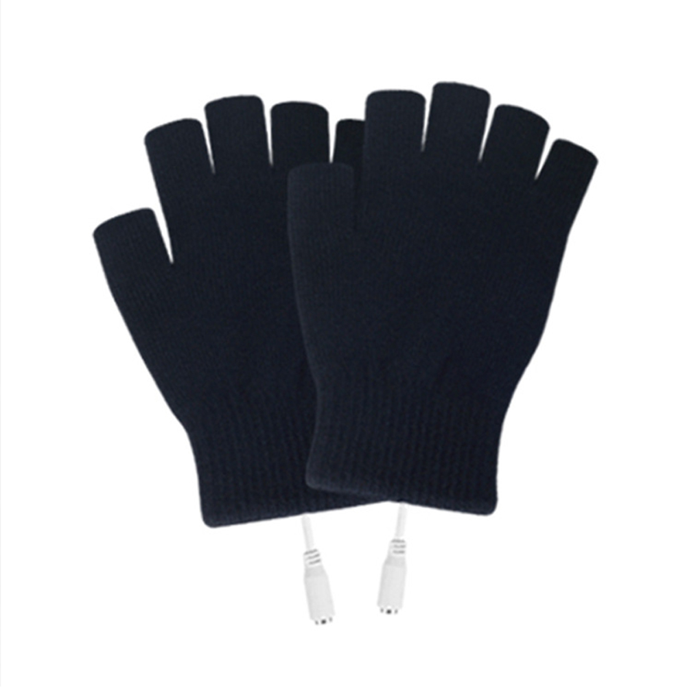 2pcs Knitting Warm With Cover USB Connection Winter Sports Practical Skiing Mitten Cycling Outdoor Heating Gloves Washable