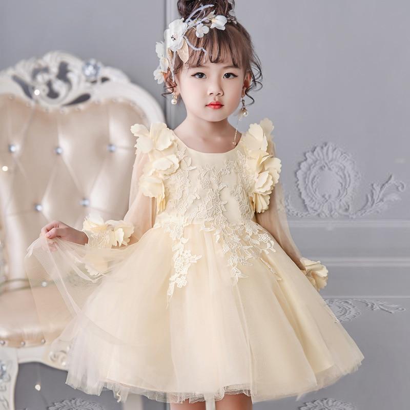 Girl'S Gown High Quality Children Shirt Embroidery Short Dress Long Sleeve Puffy Princess Skirt