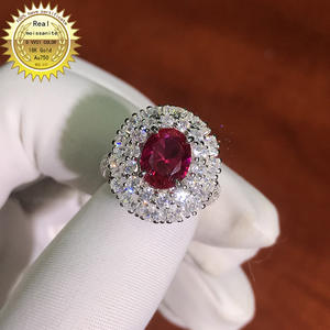 Gold-Ring Ruby Moissanite National-Certificate Created Lab And 10K with Ru-008 2ct