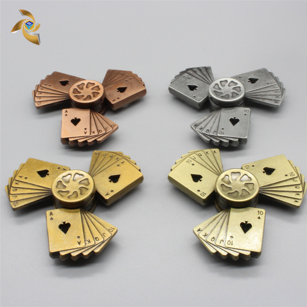 Playing Card Fidget Spinner Fingertip Gyro Metal Straight Flush Hobbies For Adults  Autism Gift  Funny Hands For Fingers Flow