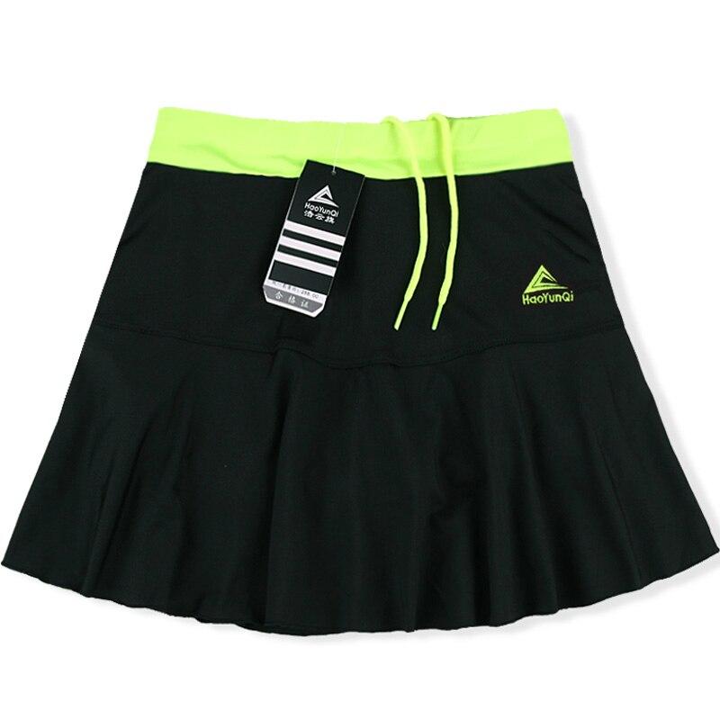 Женская Спортивная юбка весна лето тонкий анти-светильник Быстросохнущий дышащий пот Бег Фитнес стрейч шорты с шорты безопасности - Цвет: Black