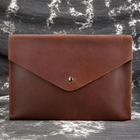 Moda do Vintage Bolsa de Papel Bolsa de Negócios Maheu Couro Macio Arquivamento Samsung Ipad Tablet Case Leve Envelope Bolsas a4