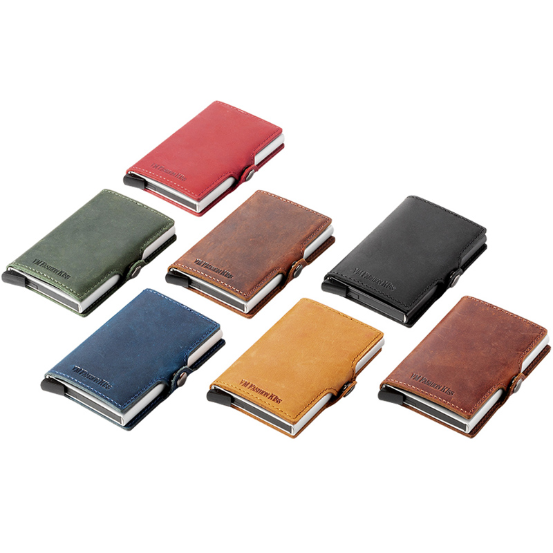 Image 5 - Custom Fathers Day Gifts Genuine Leather RFID Blocking Minimalism Wallets Automatic Nederlands Card Wallet Cardholde LuxuryCard & ID Holders   -