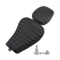 Black Leather Driver Seat Solo Saddle Passenger Pillion Seat Pad For Harley 48 Sportster 1200X 1200V Iron 883 Motorbike Parts