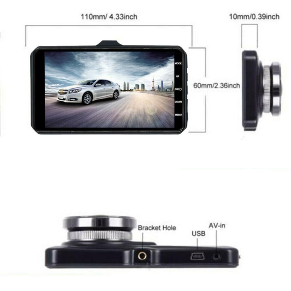 "1pc DVR 4"" 1080P Car Dual Lens Dash Cam Front & Rear Night Vision Camera Recorder high quality Car DVR accessories"