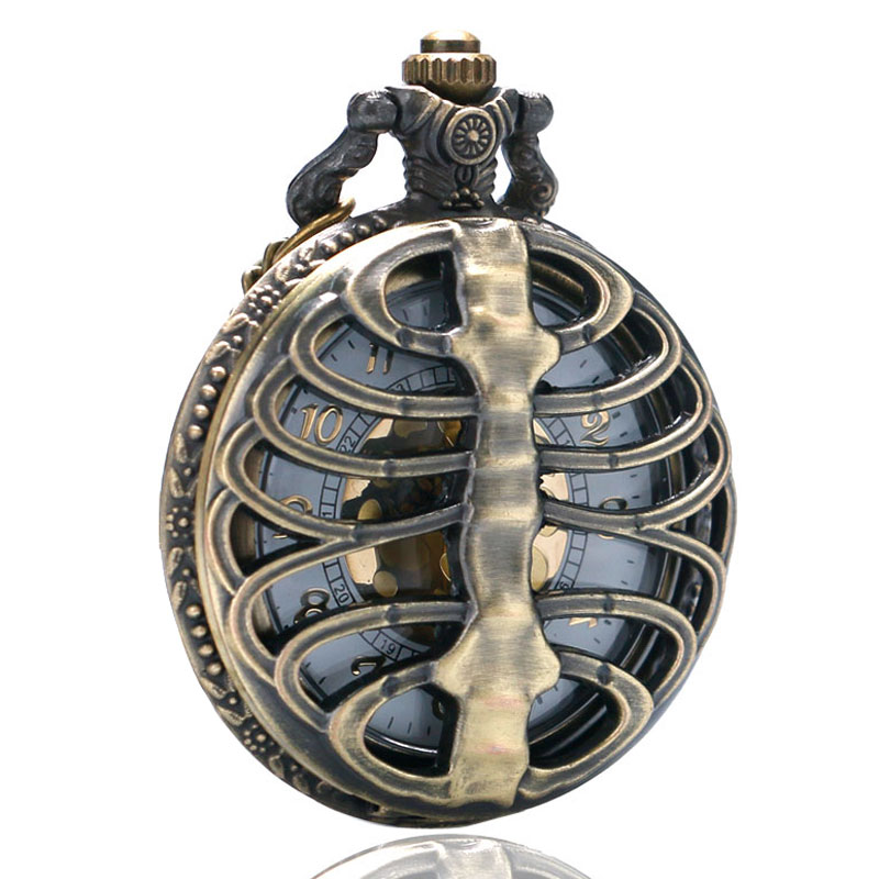 Retro Skull Spine Hollow Quartz Pocket Watch Necklace Pendant Clock Chain Men's Women's Gift