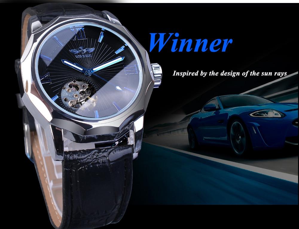 H93f110d899344a96aa94332006c4fe86j Winner Blue Ocean Geometry Design Transparent Skeleton Dial Mens Watch Top Brand Luxury Automatic Fashion Mechanical Watch Clock