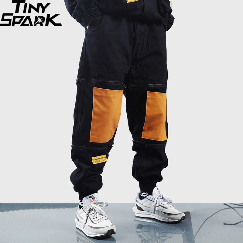 Harajuku Joggers Pants Streetwear Men Hip Hip Baggy Cargo Pants Ziipper Patchwork 2019 Casual Harem Pants HipHop Track Trousers