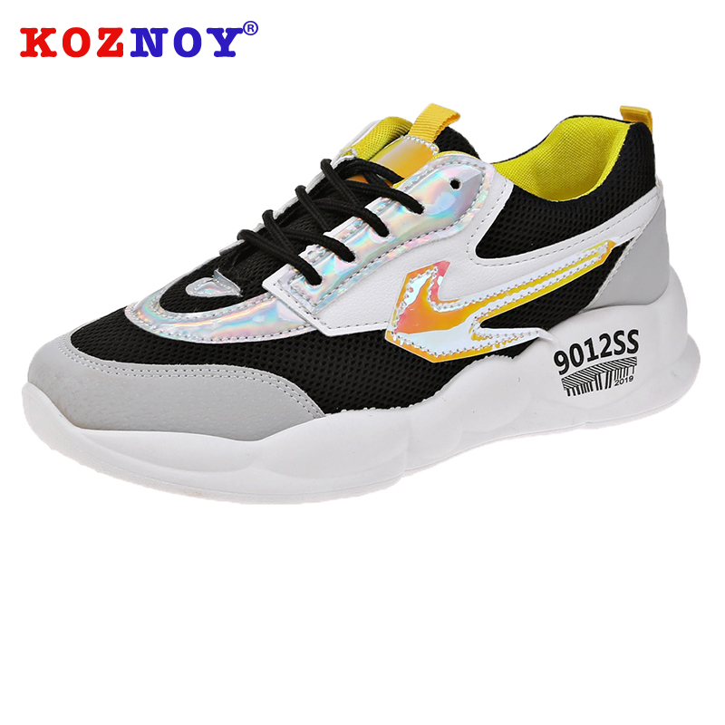 Koznoy Autumn Sneaker Women 2019 Spring Air Mesh Dropshipping Breathable Cross Tied Mixed Colors Leisure Shoes Platform