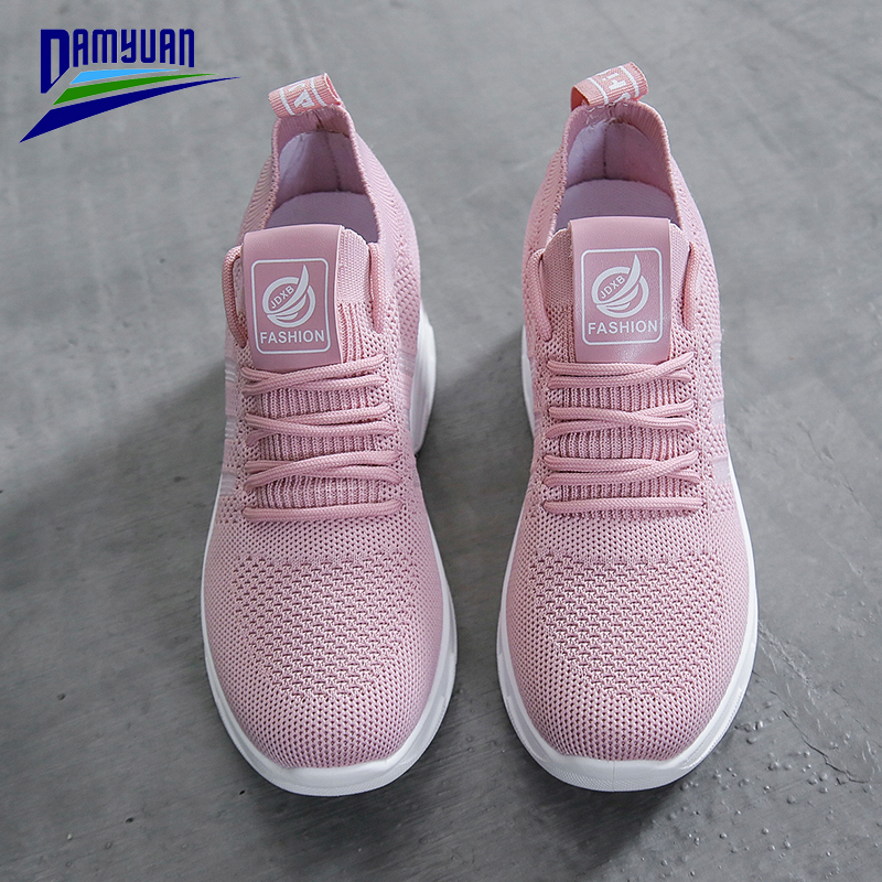 Damyuan Platform Shoes Woman Soft Solid Color Loafers Chaussures Femme Round Head Jogging Shoe Lace Up Ladies Sneakers